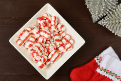 Pepermint Christmas candy. A bowl of red and white peppermint Christmas candy, shot from a high angle view Royalty Free Stock Photography
