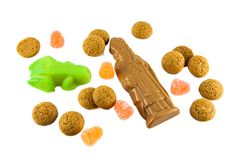 Pepernoten小杏仁饼和巧克力sinterklaas 免版税图库摄影