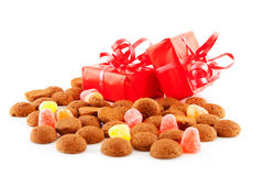 Pepernoten (ginger nuts) and presents Royalty Free Stock Photography