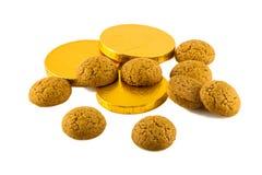 Pepernoten y dinero del chocolate Imagen de archivo libre de regalías