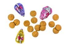 Pepernotenkoekjes en chocolademuizen Stock Foto's