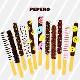 Pepero-Tag Südkoreanische Schokoladenstöcke Die mit Schokolade bedeckte und festliche Keksmischung besprüht auf grauem Streifen Stockbild