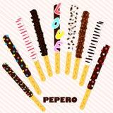 Pepero-Tag Südkoreanische Schokoladenstöcke Die mit Schokolade bedeckte und festliche Keksmischung besprüht auf rosa Streifen Lizenzfreies Stockfoto