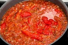 Peperonata (сладостные болгарские перцы) стоковое фото