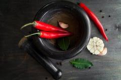 Peperoncini, aglio, foglia di alloro e spezie rossi su fondo di legno nero Immagine Stock Libera da Diritti