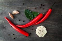 Peperoncini, aglio, foglia di alloro e spezie rossi su fondo di legno nero Fotografia Stock
