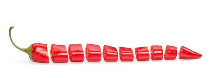 Peperoncini rossi affettati Fotografie Stock Libere da Diritti
