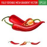 Peperoncini rossi caldi su fondo bianco Illustrazione di vettore Fotografie Stock