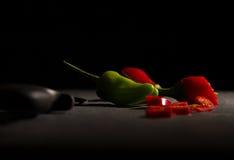 Peperoncini rossi e tagliare Fotografia Stock Libera da Diritti