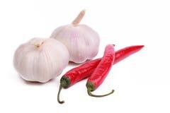 Peperoncini rossi ed aglio Immagini Stock
