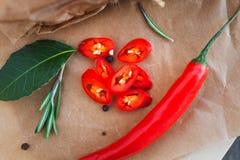 Peperoncini rossi, foglia di alloro, rosmarini e varie spezie Immagine Stock