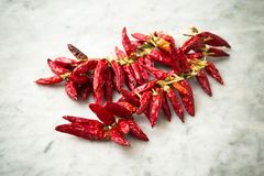 Peperoncini rossi italiani Fotografie Stock