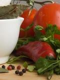 Peperoncini rossi, pomodori & spezie IV Fotografia Stock Libera da Diritti