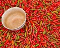 Peperoncini rossi rossi Fotografia Stock