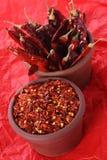 Peperoncini rossi rossi caldi dei peperoncini rossi e pepe schiacciato Immagine Stock Libera da Diritti