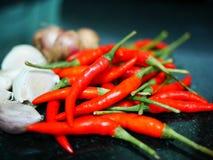 Peperoncini rossi rossi per alimento Immagini Stock Libere da Diritti