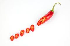 Peperoncini rossi rossi tagliati Fotografia Stock Libera da Diritti
