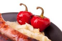 Peperoncini rossi rotondi marinati Fotografia Stock