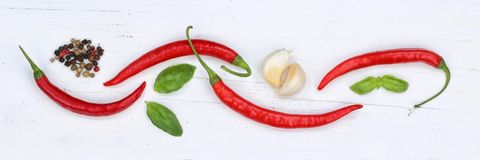 Peperoncini rossi roventi dei peperoncini che cucinano backgrou dell'insegna degli ingredienti Fotografia Stock Libera da Diritti
