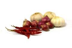 Peperoncini rossi, scalogno ed aglio secchi Fotografia Stock Libera da Diritti