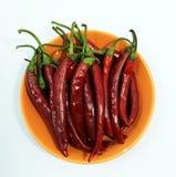 Peperoncini rossi su un piatto Fotografia Stock Libera da Diritti