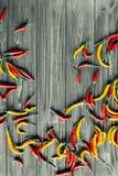 Peperoncini su un fondo di legno Fotografia Stock