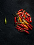 Peperoncino chilli peppers. Close up on dark Stock Images