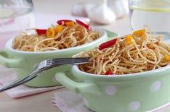 Peperoncino dell'olio e di aglio e degli spaghetti Immagine Stock Libera da Diritti