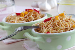 Peperoncino do olio e do aglio e dos espaguetes Imagem de Stock Royalty Free