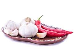 Peperoncino ed aglio Fotografia Stock