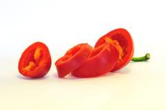 Peperoncino rosso affettato Fotografie Stock Libere da Diritti