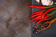 Peperoncino rosso, aglio e granelli di pepe caldi Fotografie Stock