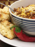 Peperoncino rosso con i biscotti e un pepp Immagine Stock