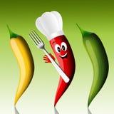 Peperoncino rosso con il cappello del cuoco unico Fotografia Stock Libera da Diritti