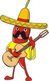 Peperoncino rosso in costume messicano Immagine Stock Libera da Diritti