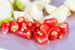 Peperoncino rosso della miscela con pepe Fotografia Stock