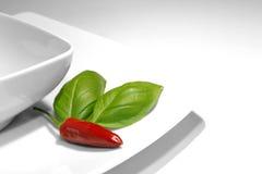 Peperoncino rosso e basilico Fotografia Stock