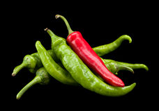 Peperoncino rosso e verde Fotografia Stock