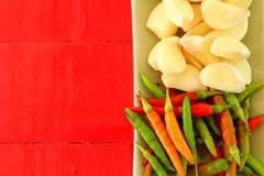 Peperoncino rosso ed aglio Fotografia Stock Libera da Diritti