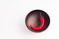Peperoncino rosso nella ciotola di legno Fotografia Stock Libera da Diritti
