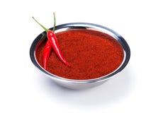 Peperoncino rosso su potere rosso del curry Fotografie Stock