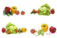 Peperone con pepe ed i pomodori gialli su fondo bianco Immagine Stock Libera da Diritti