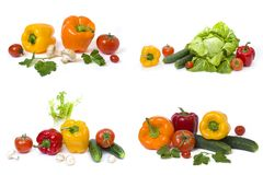 Peperone con pepe ed i pomodori gialli su un fondo bianco Cetrioli con i peperoni ed i pomodori Immagini Stock Libere da Diritti