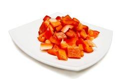 Peperone dolce rosso affettato Fotografie Stock Libere da Diritti