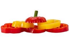 Peperone dolce rosso e giallo affettato Fotografia Stock Libera da Diritti