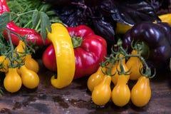 Peperone dolce rosso e porpora e pomodori gialli Fotografie Stock Libere da Diritti