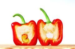 Peperone dolce rosso su fondo bianco Fotografia Stock