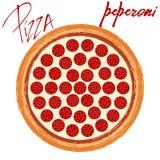 Peperoni пиццы на белой предпосылке бесплатная иллюстрация