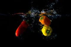 Peperoni in acqua fotografia stock libera da diritti