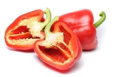 Peperoni affettati rossi Fotografia Stock
